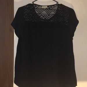 black blouse with see through triangular detail